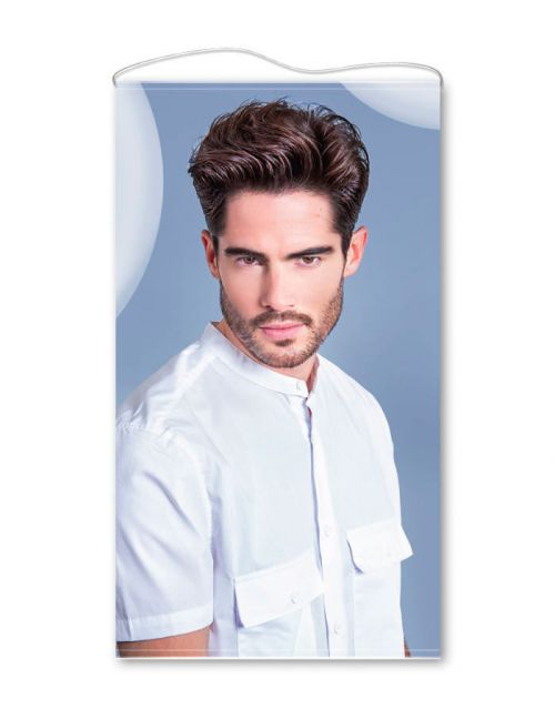 See through hairdressing banner Man HC667